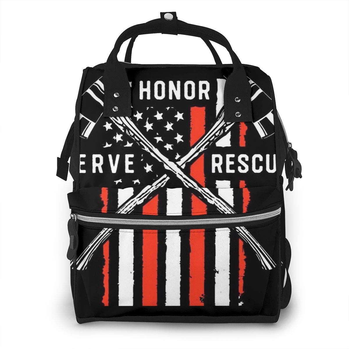 Thin Red Line Firefighter USA Flag Diaper Bag Backpack Waterproof Multi-Function Baby Changing Bags Maternity Nappy Bags Durable Large Capacity for Mom Dad Travel Baby Care