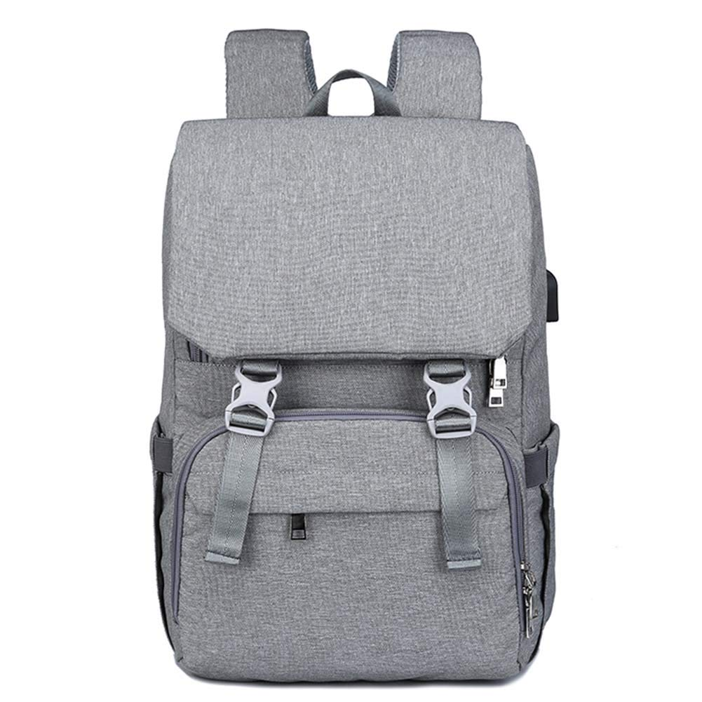 SWDZM Diaper Bag Backpack Large Capacity Baby Bag Multi-Function Travel Backpack with USB Charging Port,Grey