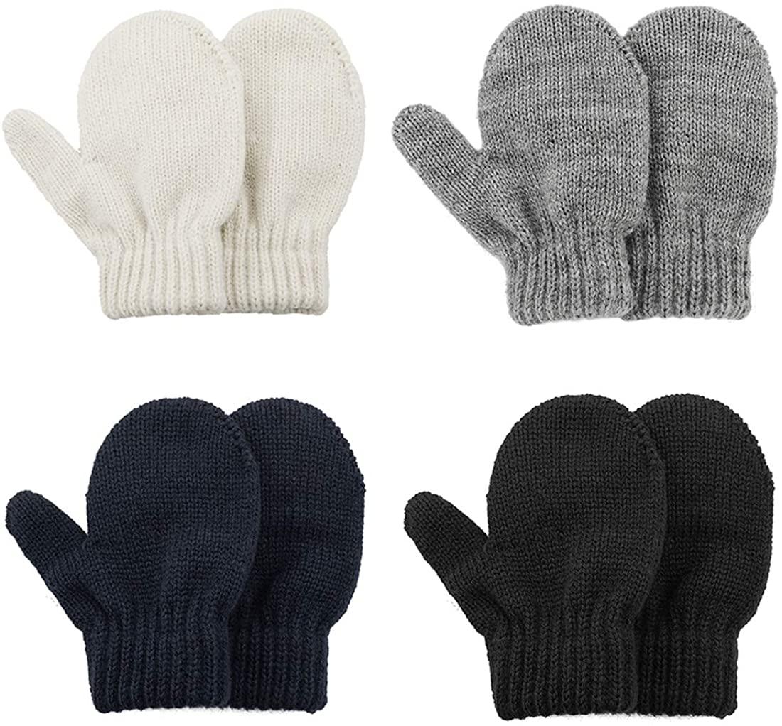 Durio Knit Toddler Mittens Thick Mittens for Toddler Boy Girls Soft Warm Crochet Winter Baby Infant Mittens Gloves