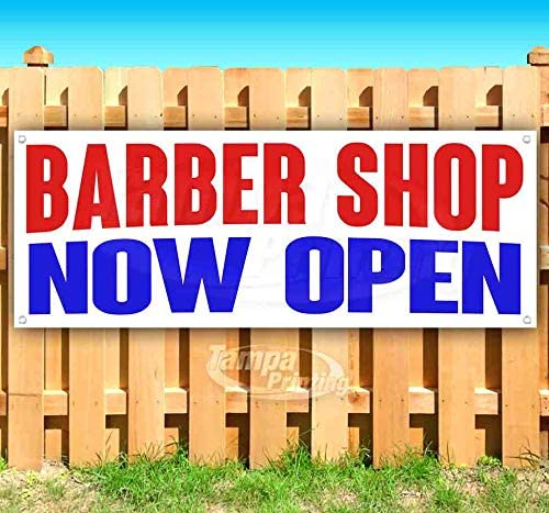 Barber Shop Now Open 13 oz Heavy Duty Vinyl Banner Sign with Metal Grommets, New, Store, Advertising, Flag, (Many Sizes Available)
