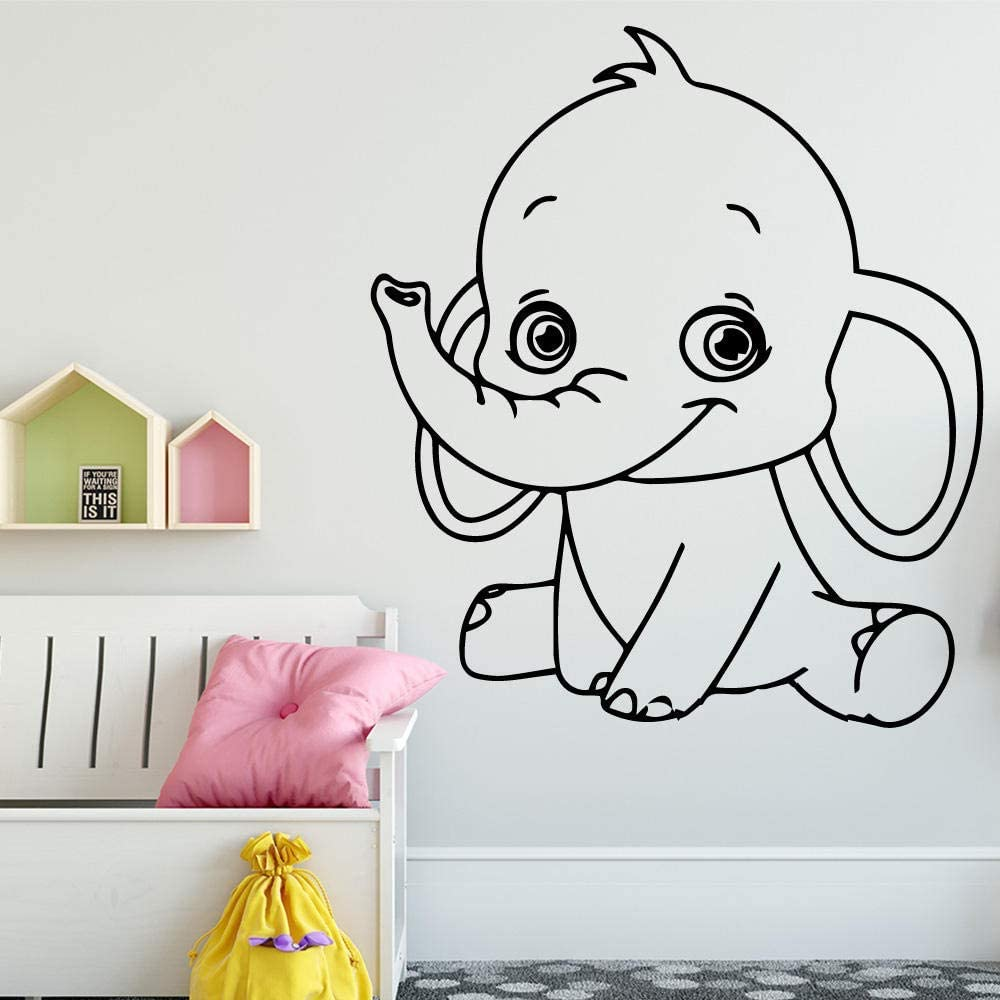 vwsitc Cartoon Elephant Vinyl Wall Stickers Wall Decor for Kids Room Decoration Wall Decals Sticker Murals Stickers 58 66Cm