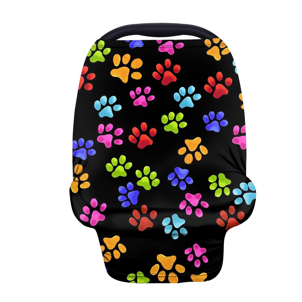 chaqlin Colorful Paws Nursing Cover Breastfeeding Scarf - Baby Car Seat Covers, Infant Stroller Cover, Carseat Canopy for Girls and Boys