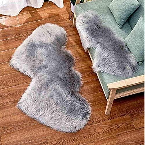 Soft Grey Fluffy Rugs Heart Shape Rug, Fur Rugs for Bedroom, Fuzzy Carpet for Living Room, 2x4 Feet, Ciicool