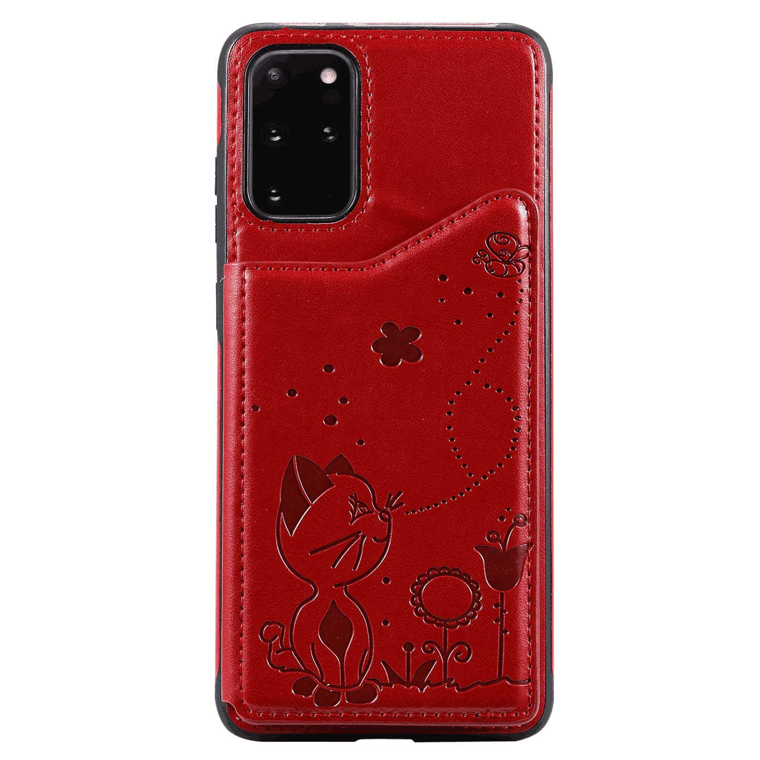 PU Leather Flip Cover Compatible with iPhone 11, Elegant red Wallet Case for iPhone 11