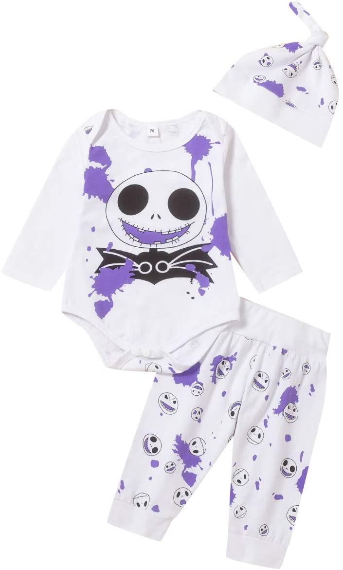 Halloween Baby Boy Girl Nightmare Before Christmas Pants Set Skull Bat Stripe Print and Hat Outfit Set (Purple, 12-18 M)