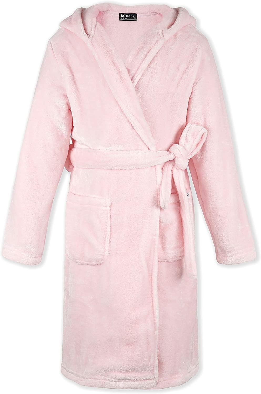 DOTDOG Kids Soft Coral Velvet Hooded Robe Classic Casual Bathrobe Fleece Pajamas Sleepwear for Boys or Girls 3-12 Years