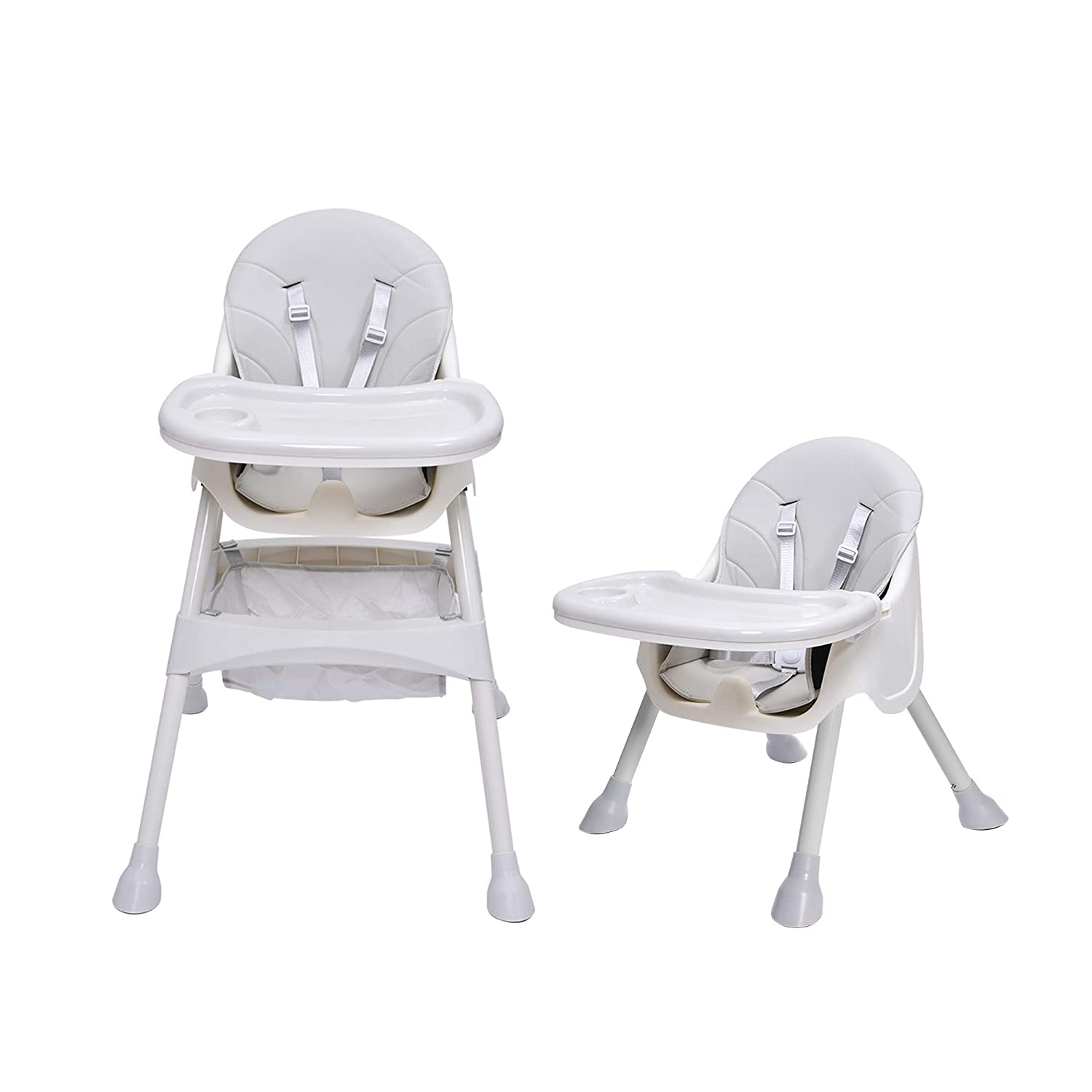 Bellanny 2 in 1 High Chair Baby,High Chair,Combination High Chair,with 5-Point Seat Belts,Height Adjustable,Removable Tray,from 6 Months to 3 Years Old Baby Chair-Gray