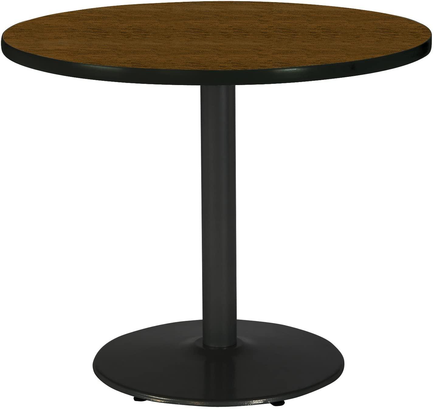 KFI Seating Round Black Base Pedestal Table with Top, Walnut, 42