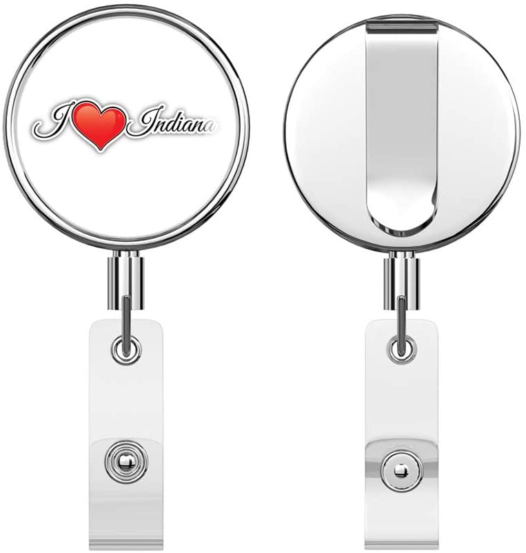 I Love Indiana USA Travel Slogan Round ID Badge Key Card Tag Holder Badge Retractable Reel Badge Holder with Belt Clip