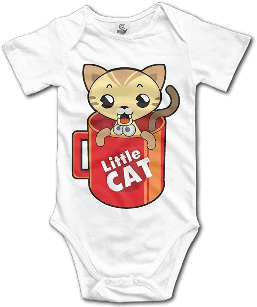 Little Cat in The Cup Cute Infant Toddler Rompers Baby Bodysuit Short Sleeve Unisex