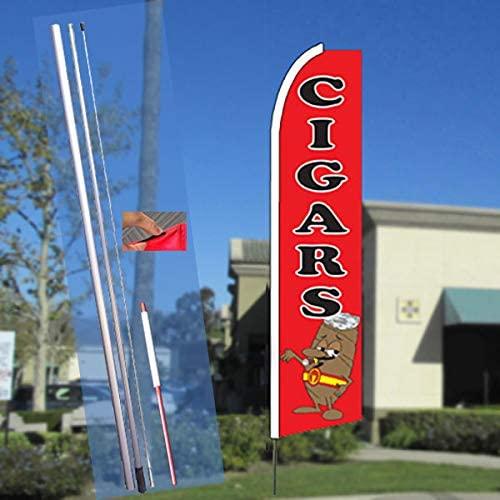 CIGARS (Red) Flutter Feather Banner Flag Kit (Flag, Pole, & Ground Mt)