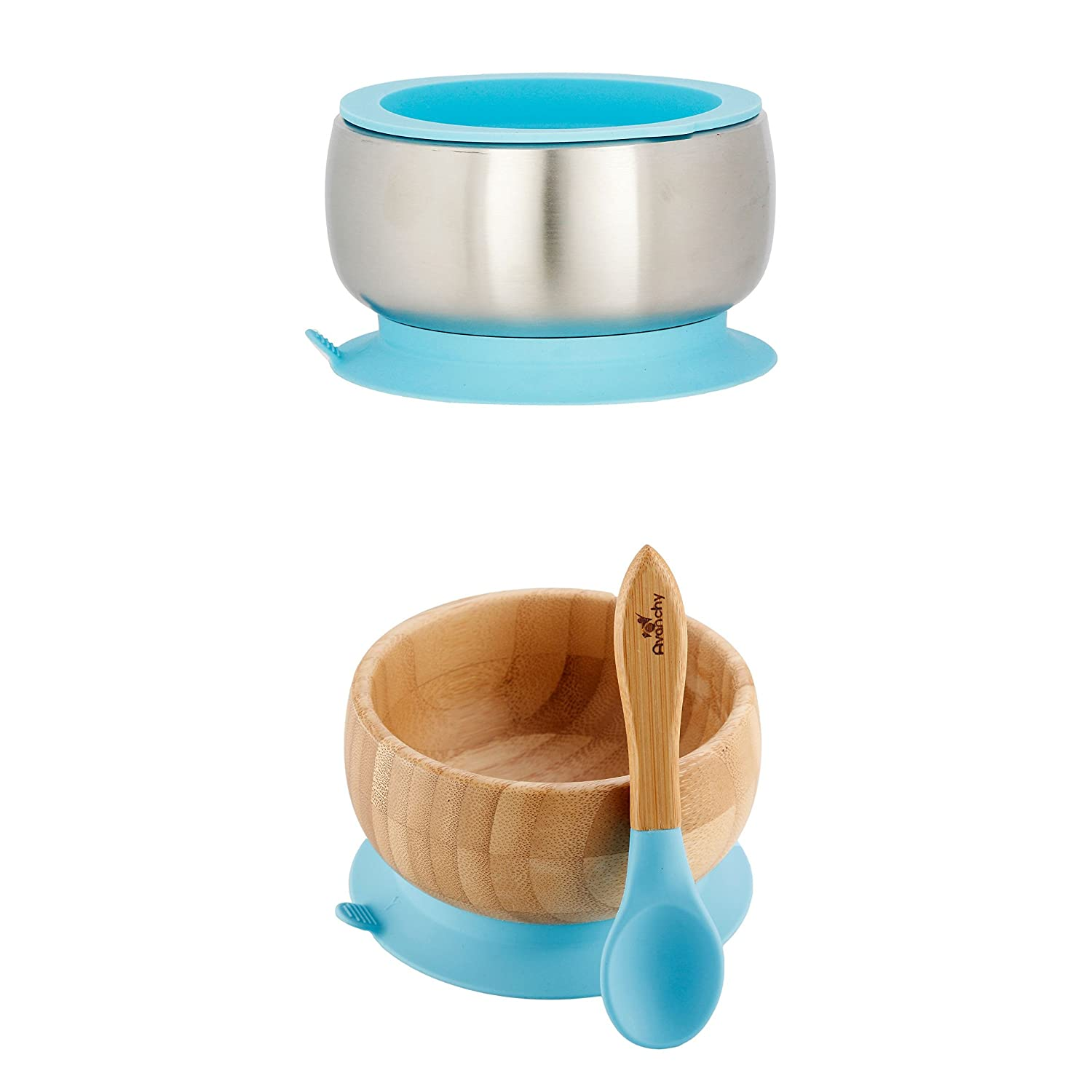 Avanchy Stainless Steel Bowl, Bamboo Suction Bowl & Baby Spoon - Stainless Steel Kids Bowls - Suction Bowls with Lids - Silicon Suction (Blue)