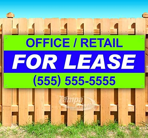 Office/Retail for Lease 13 oz Heavy Duty Vinyl Banner Sign with Metal Grommets, New, Store, Advertising, Flag, (Many Sizes Available)