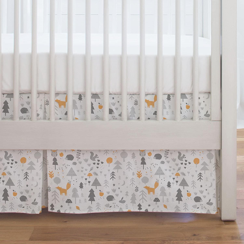 Carousel Designs Light Orange and Silver Gray Baby Woodland Crib Skirt Single-Pleat 17-Inch Length - Organic 100% Cotton Crib Skirt - Made in The USA