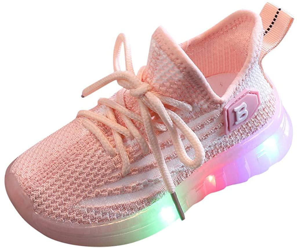 Children Baby Girls Boys Mesh Led Light Luminous Running Sport Sneaker Breathable Shoes