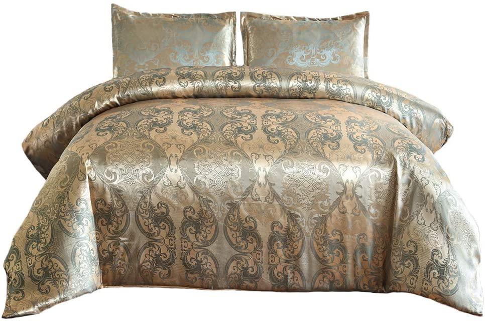 SUCSES Satin Duvet Cover Set Full Size, Silk Like Jacquard Bedding Set with Pillow Shams, Rose Gold Silky Luxury Reversible Comforter Cover