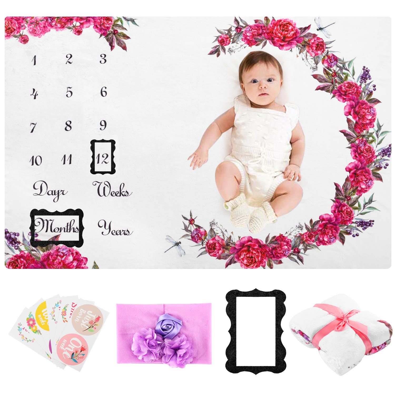 Baby Milestone Blanket Girl Floral - 55