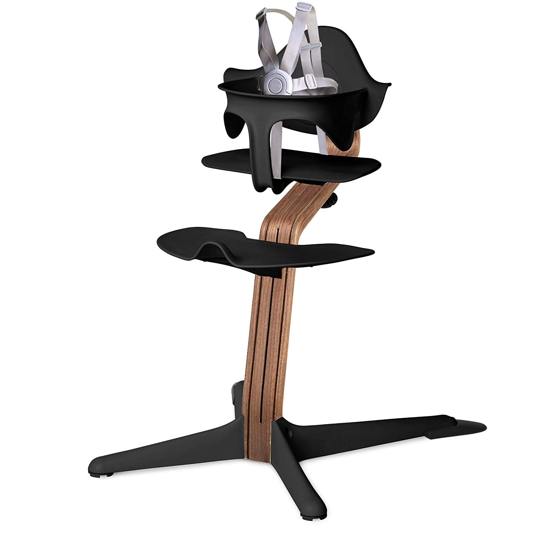 Nomi High Chair, Black – Premium Walnut Wood, Modern Scandinavian Design with a Strong Wooden Stem, Baby through Teenager and Beyond with Seamless Adjustability, Award Winning Highchair