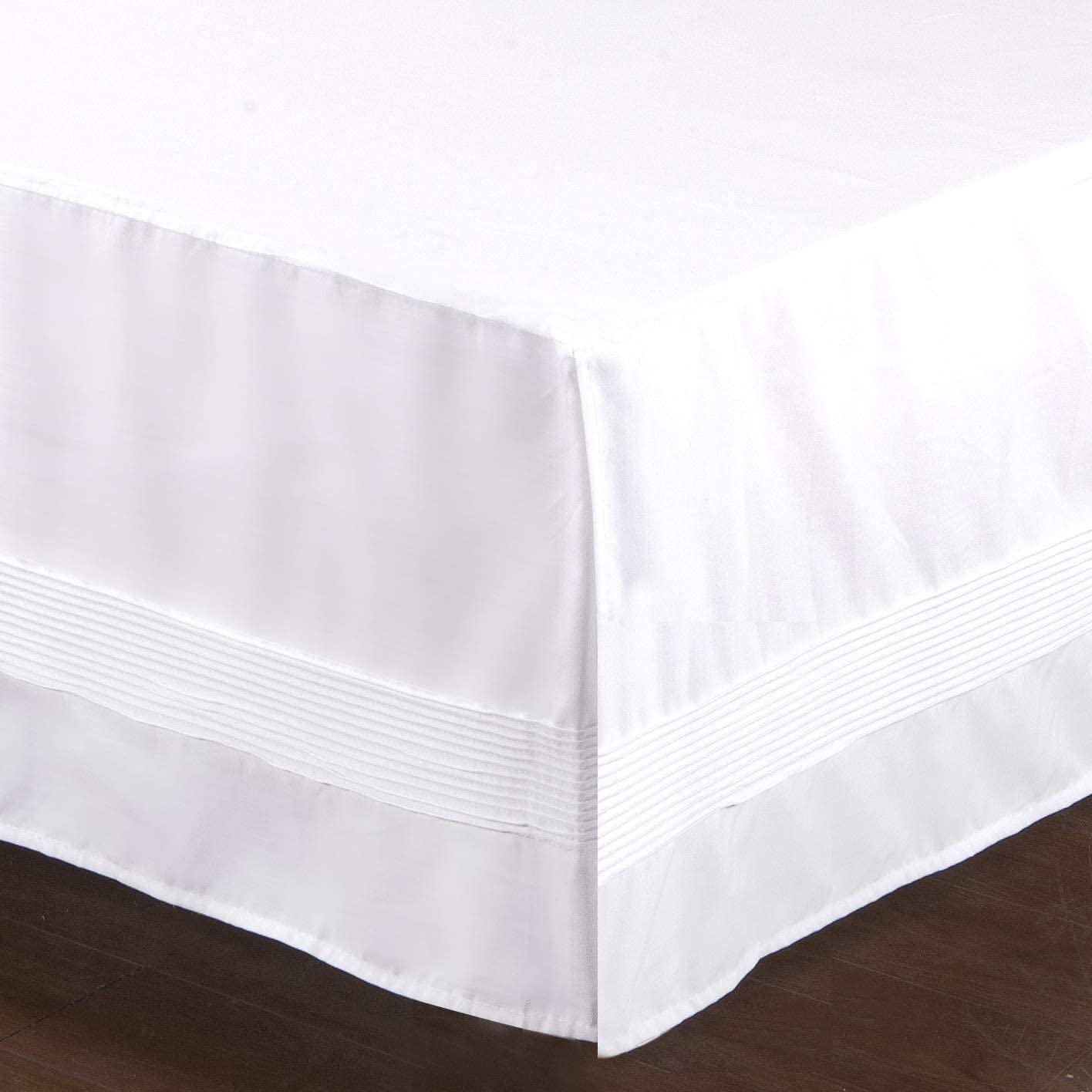 Valea Home Bed Skirt with Split Corners Durable Elegant Luxury Dust Ruffle with Pin Tucking 14 inch Tailored Drop, Full, White
