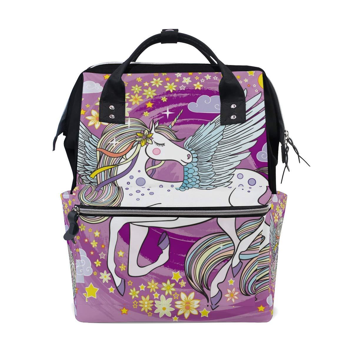 MERRYSUGAR Diaper Bag School Backpack Baby Bag Unicorn Star Purple Large Multifunction Travel Bag Mommy Bag