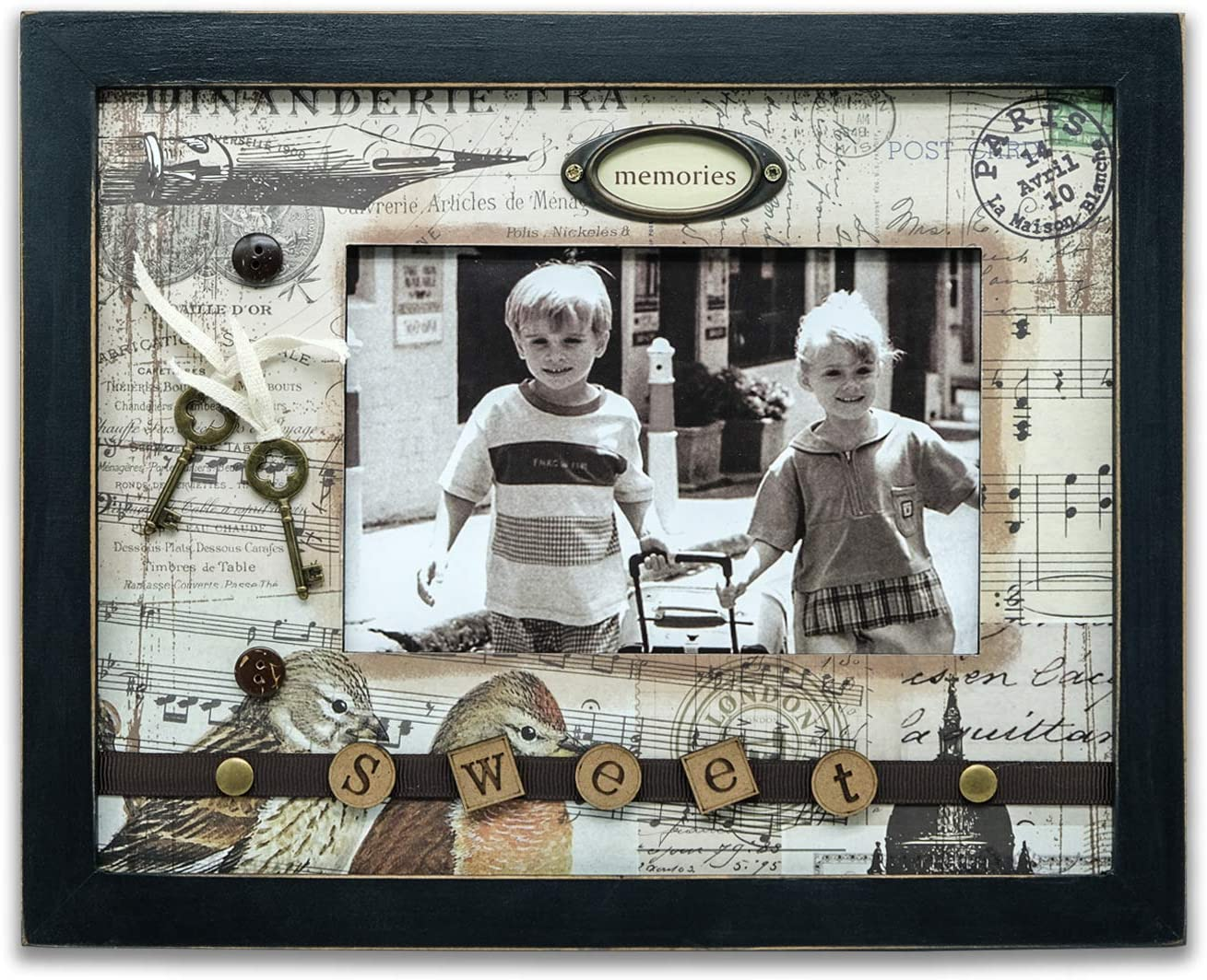 SAILINGSTORY Baby Picture Frame 4x6, Scrapbooking Baby Photo Frame for Boy Girl in Wood for Table Top and Wall Display