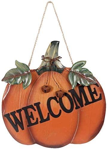 Grace Home Wood Harvest Pumpkin Welcome Sign Harvest Fall Halloween Thanksgiving Hanging Pumpkin Wall Door Decoration