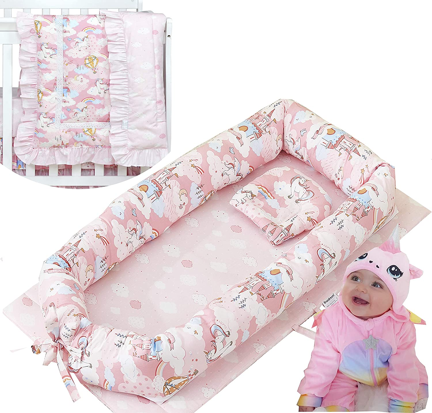 Branadream Baby Girls Nest Bed Unicorn, Pink Newborn Lounger with Comforter Portable Baby Bassinet Crib for Travel/Bedroom Perfect for Co-Sleeping 100% Cotton Breathable & Hypoallergenic