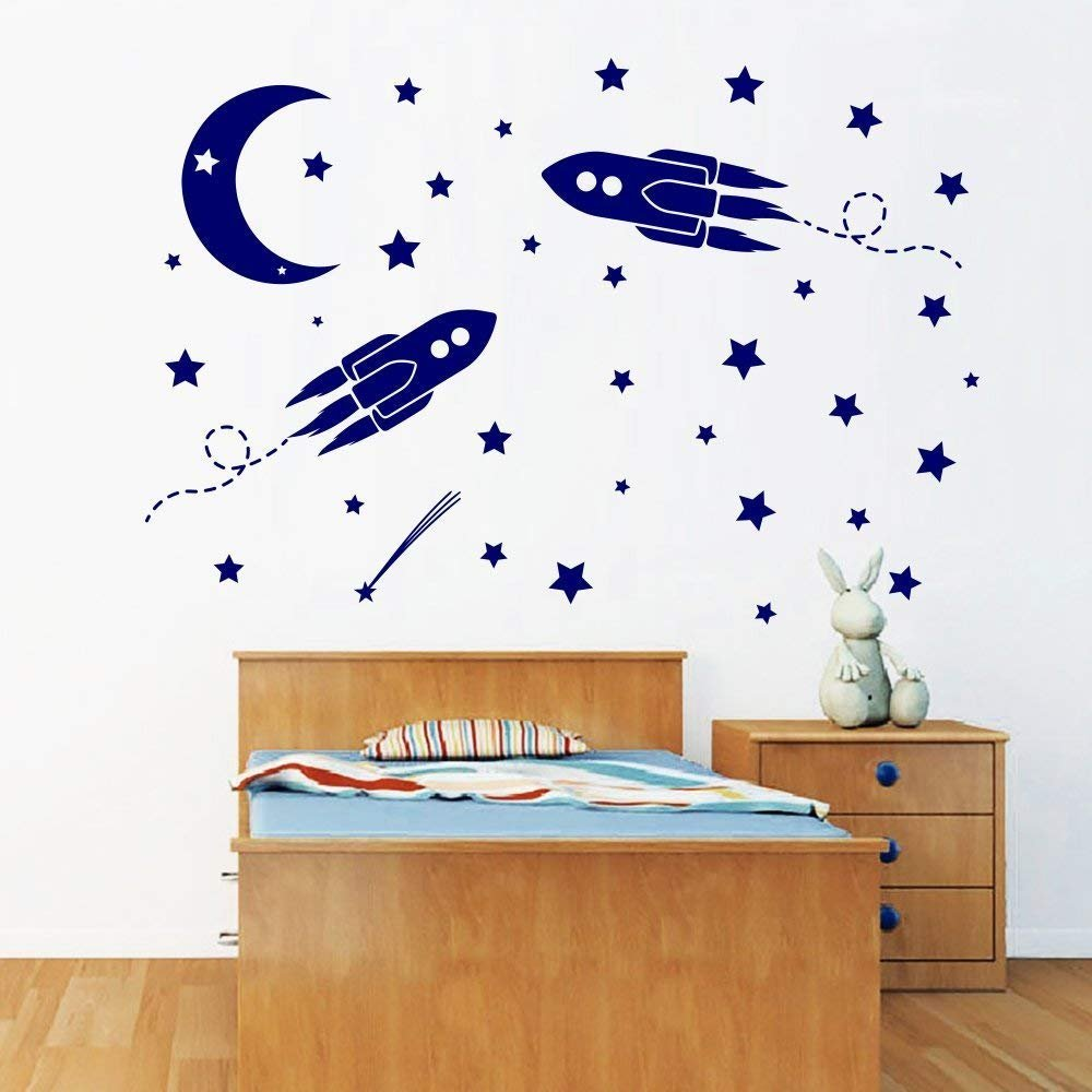 Rocket Ship Wall Decals Space Moon and Stars Decal Nursery Baby Boy Room Decorations Vinyl Sticker Window Home Mural Decor A355 (30x30)