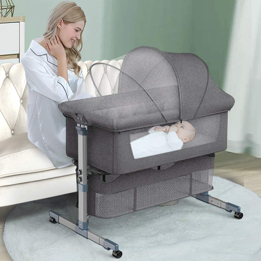 Bedside Crib Bedside Sleeper, Baby Bassinet with Mattress and Breathable Net, 6 Height Adjustable Baby Bed, Portable Travel Baby Crib, Baby Bedside Bassinet for New Born(Grey)