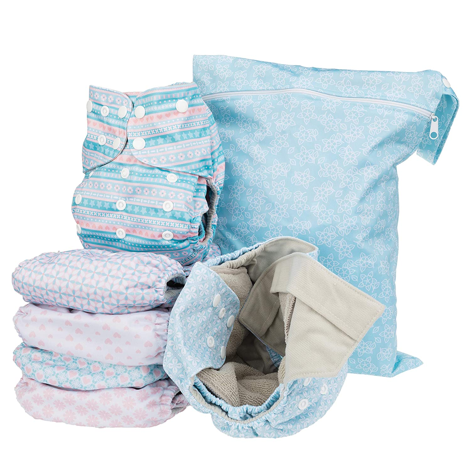 Simple Being Reusable Cloth Diapers- Double Gusset-6 Pack Pocket Adjustable Size-Waterproof Cover-6 Inserts-Wet Bag (Stripes)