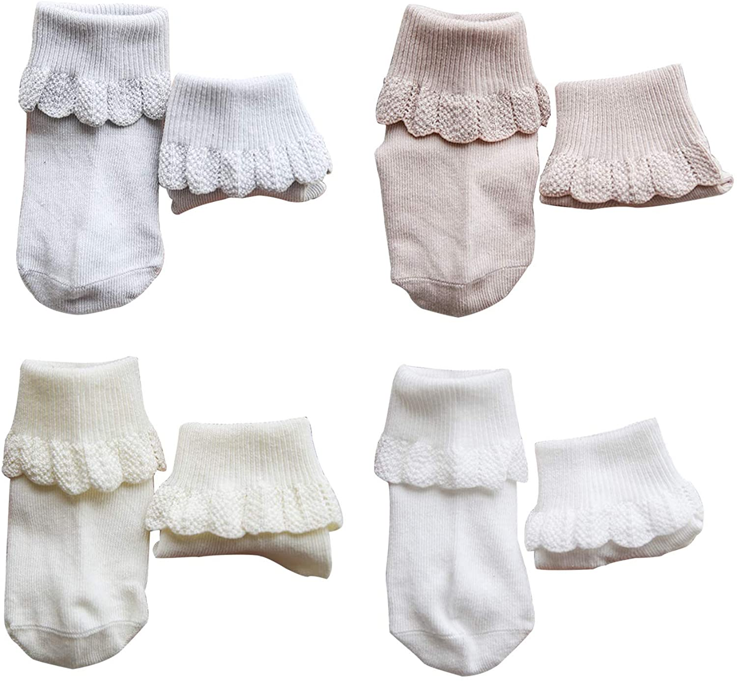 The Idealhome Baby Girls Lace 4 Pair Toddler Cotton Socks Non-slip Warm Knee High Socks (0-3 years)