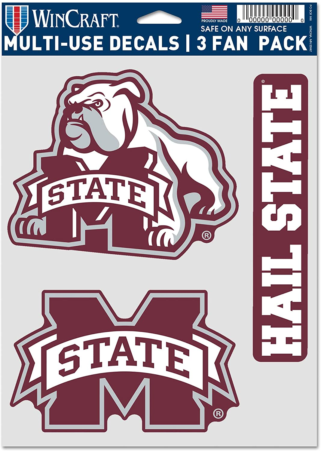 WinCraft NCAA Mississippi State University Bulldogs Multi-Use Decal 3 Fan Pack, Team Colors, 5.5