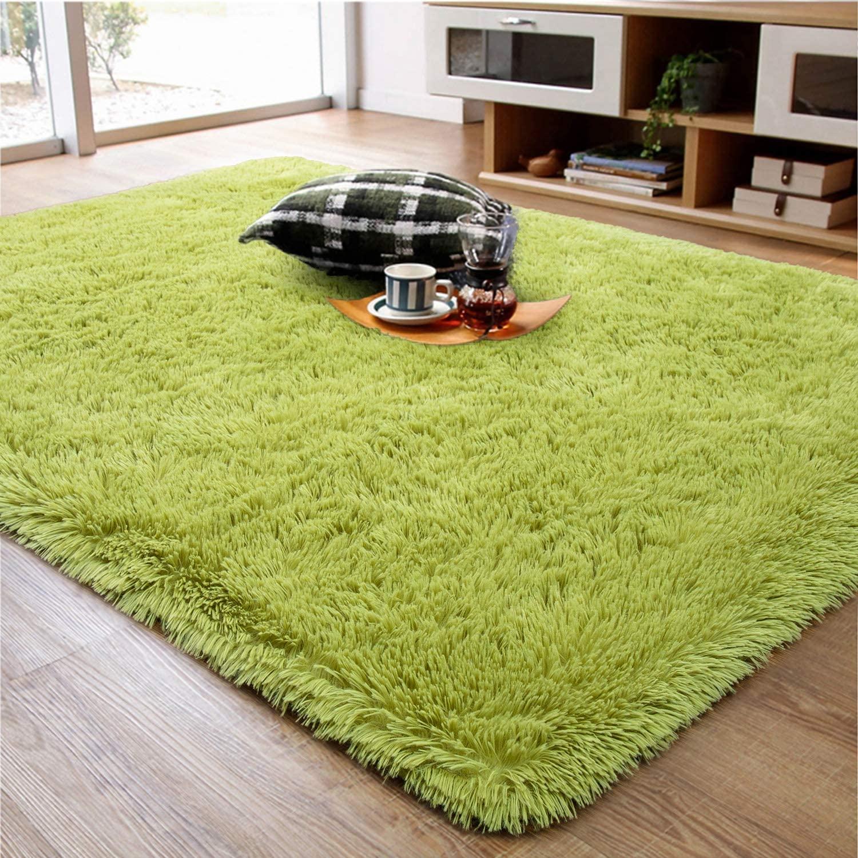 Ruihoo Fluffy Rug, Super Soft Fuzzy Area Rugs for Bedroom Living Room - 4' x 6' Large Plush Furry Shag Rug - Kids Playroom Nursery Classroom Dining Room Decor Floor Carpet, Green