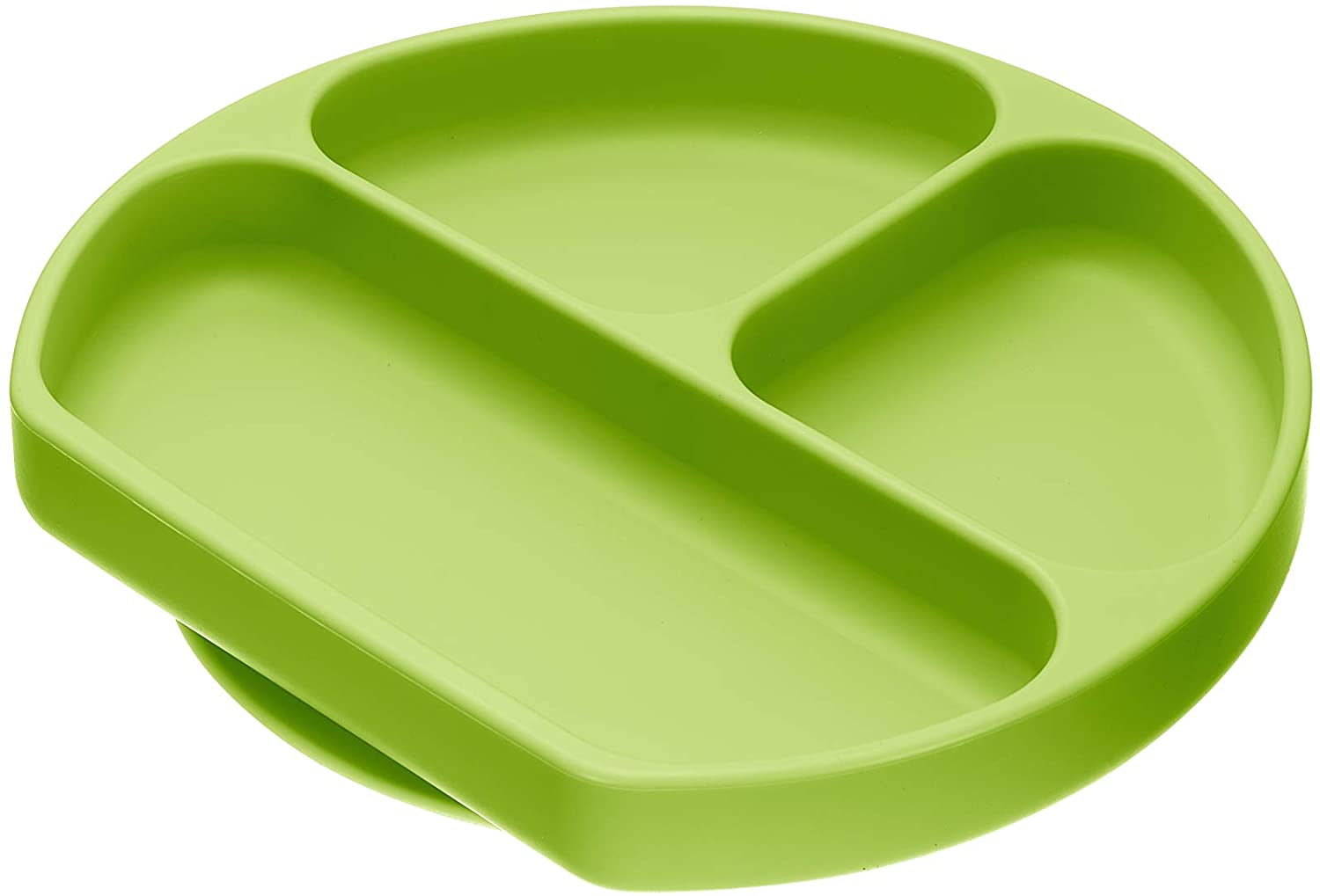 Sillyplates Silicone Grip Dish - Suction Baby Food Bowl for Placemat or Highchair Trays - Toddler Feeding Plate with 3 Portion Dividers for Picky Eaters - Microwave Oven & Dishwasher-Safe, (Green)