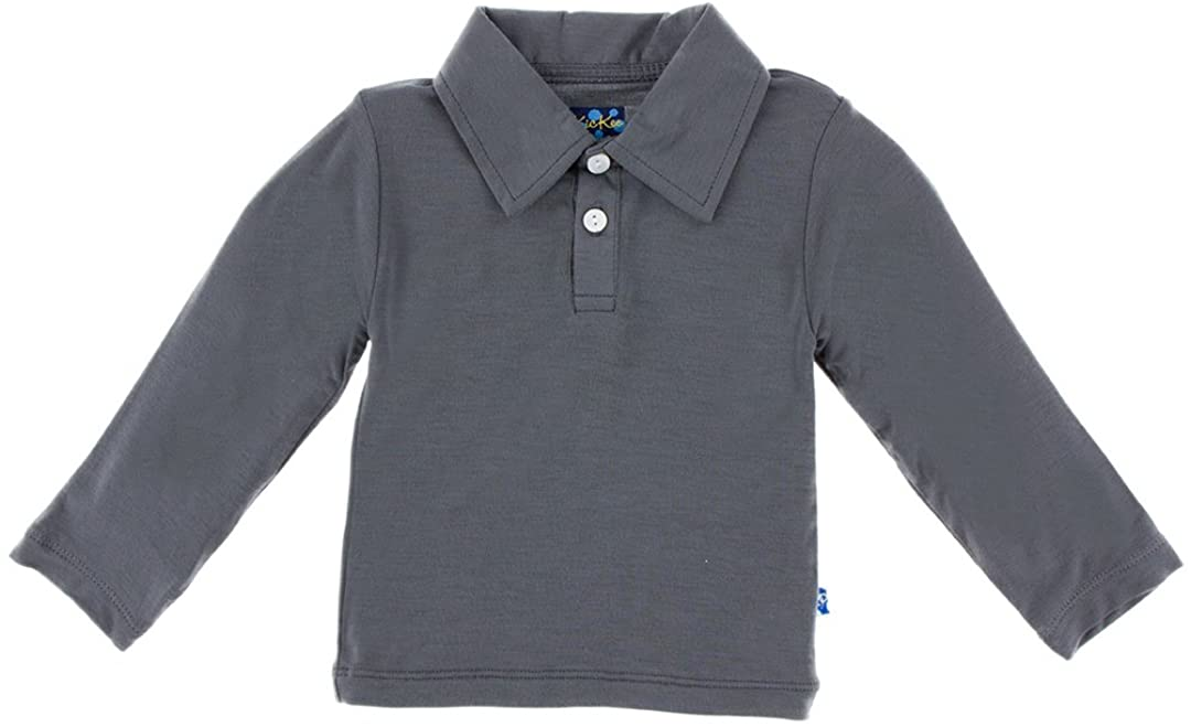KicKee Pants Boys Long Sleeve Polo Shirt, Gray Stone