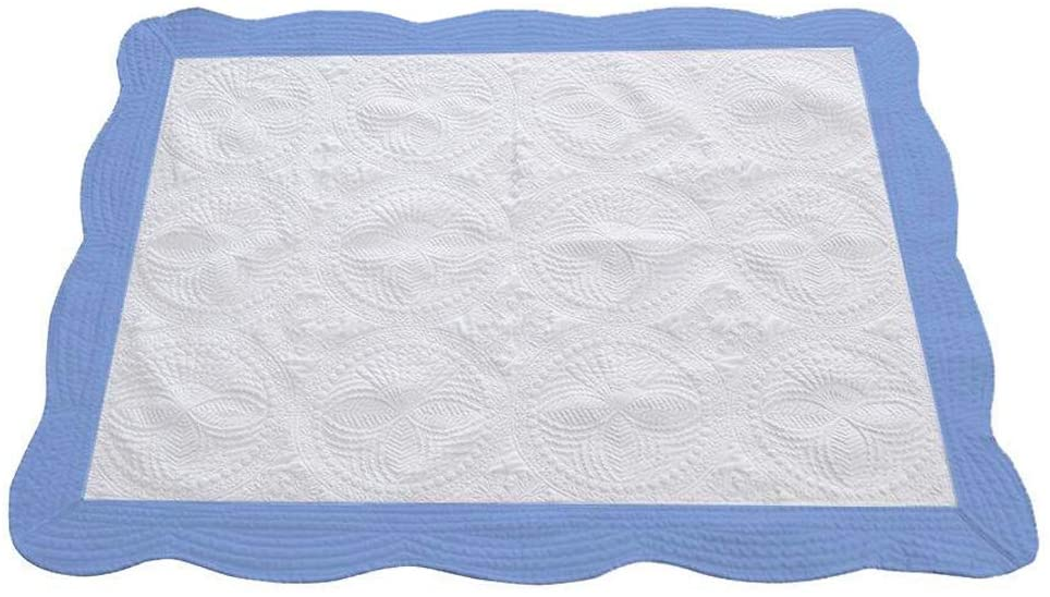 CFP Heirloom White Baby Boy Quilts - 100 Cotton Nice Stitching Detail, Already Washed No Shrinking, Soft Lightweight Feel, Blue Trim, 36