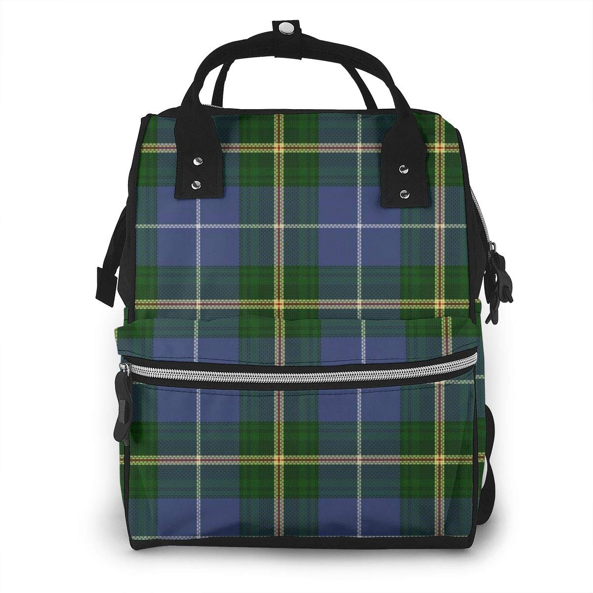 Blue Nova Scotia Tartan Plaid Diaper Bag Backpack Waterproof Multi-Function Baby Changing Bags Maternity Nappy Bags Durable Large Capacity for Mom Dad Travel Baby Care