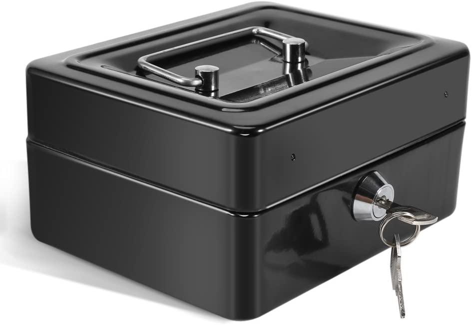 DeWin Safe Box - Mini Portable Steel Petty Lockable Cash Money Coin Safe Security Box, Household, 1Pcs (Color : Black)