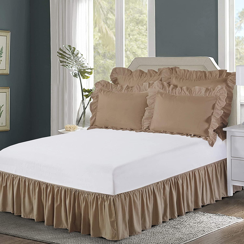 "Bed Maker's Ruffled Wrap-Around Bedskirt Never Lift Your Mattress, Classic 14"" Drop Length Gathered Ruffle Styling, Mocha, King"