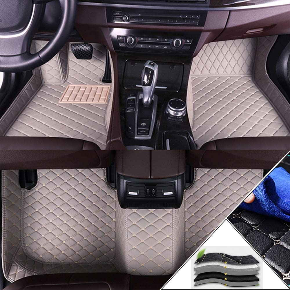 Muchkey Custom Car Floor Mats for GMC Full Coverage All Weather Protection Front & Rear Liner Set Gray