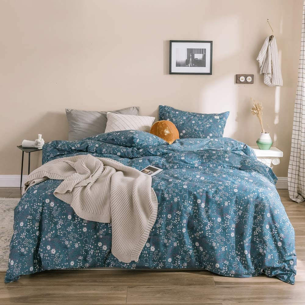 OTOB Queen Comforter Cover Bed Set with Zipper Ties 2 Pillow Shams for Kids Girls Blue White Cotton Floral Pattern 3 Piece Reversible Teen Bedding Sets, Queen Full Size