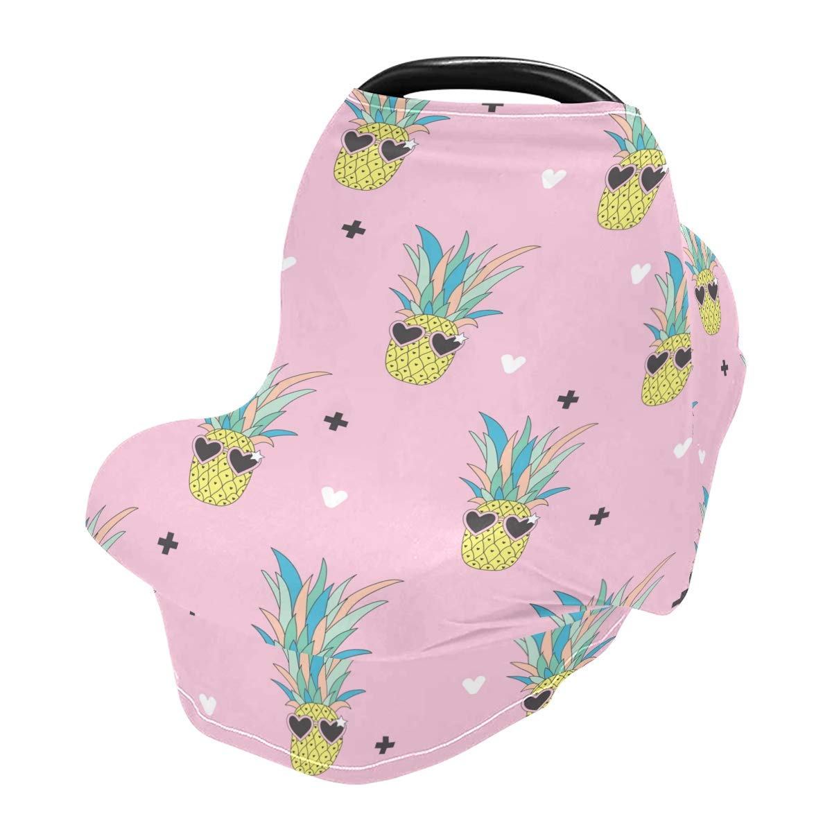 Nursing Cover Loving Eyes Pineapple Breastfeeding Soft Carseat Canopy Multi Use for Baby Car Seat Covers Canopy Shopping Cart Cover Scarf Light Blanket Stroller Cover