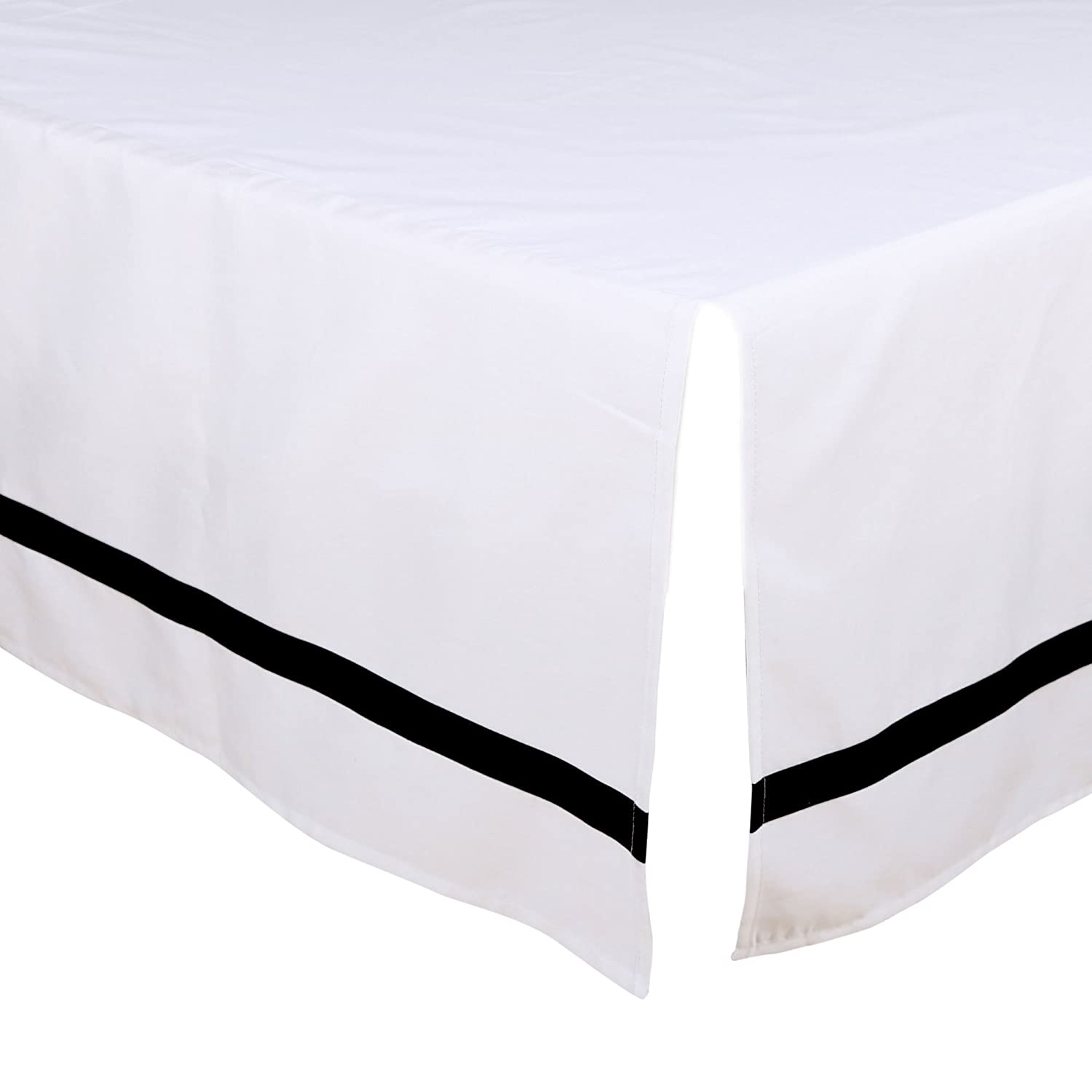 White Tailored Crib Dust Ruffle with Black Stripe by The Peanut Shell