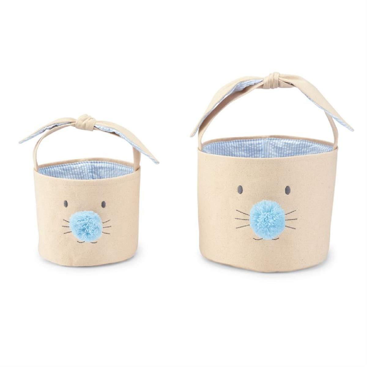 Mud Pie Blue Bunny Face Easter Basket Set