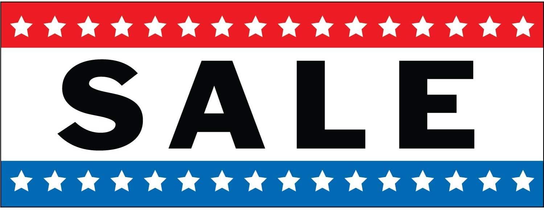 HALF PRICE BANNERS | Sale Vinyl Banner -Mesh Wind Resistant 3X8 Foot -Stars | Includes Zip Ties | Easy Hang Sign-Made in USA