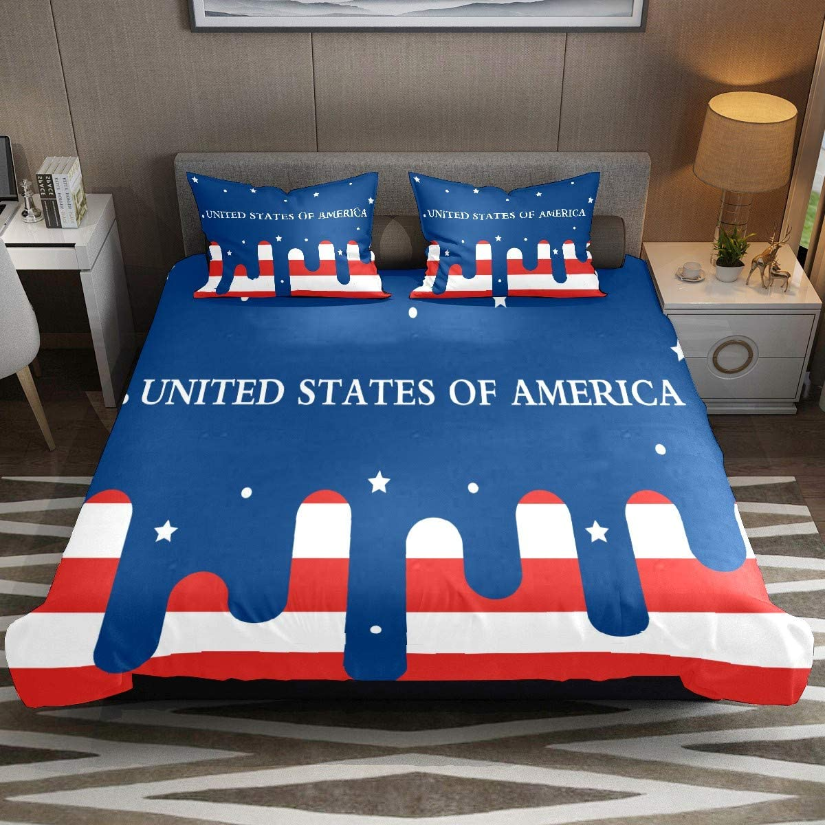 Modern American Flag Printed Comforter Cover Set Full Size 3pcs Duvet Cover Bedding Sets & Collections with Zipper Ties for Woman Teens Kids Modern Customize (1 Quilt Cover +2 Pillowcases)