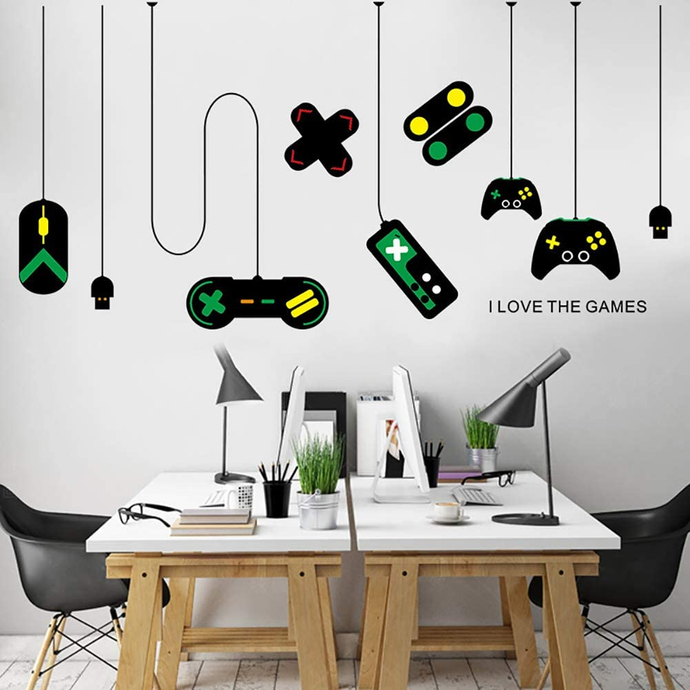 Gamer Controller Wall Decal, Wall Sticker for Game Boy Playroom Bedroom Living Room Decoration Wallpaper Removable Art Mural - Boys Kids Men