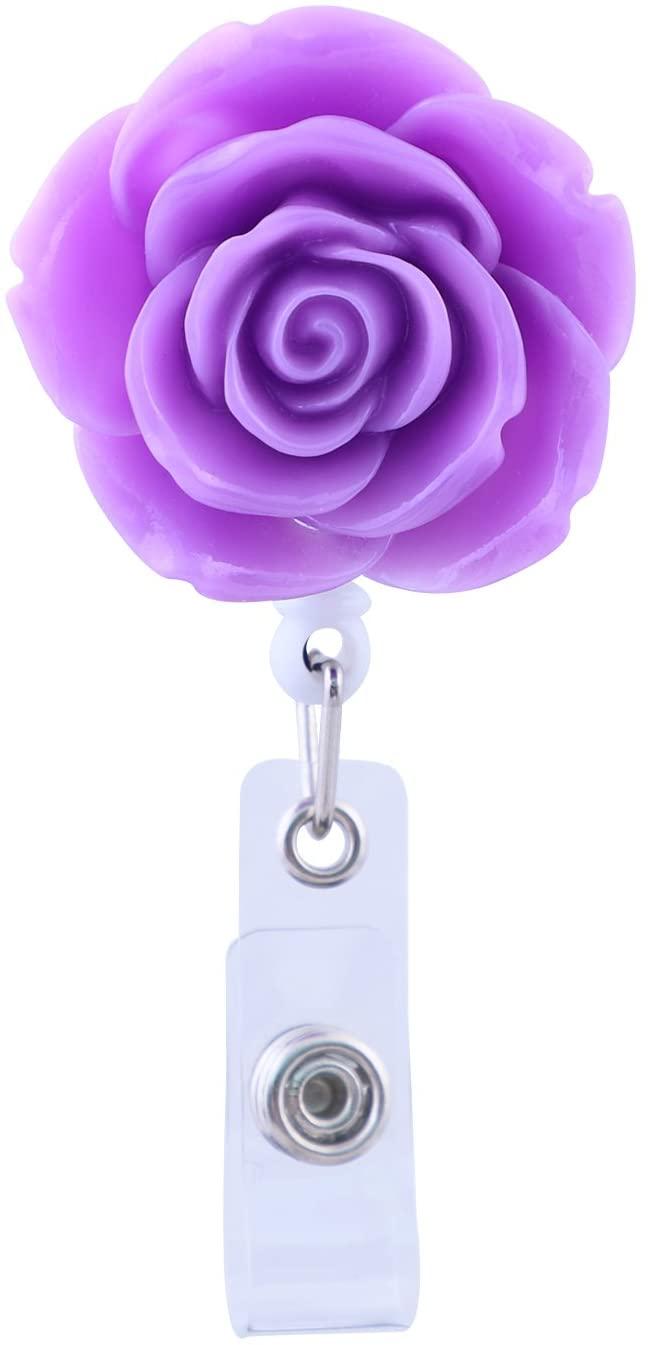 Soleebee 28'' Retractable Badge Reel, Rose Nurse ID Badge Holder Reel with Belt Clip (Purple)