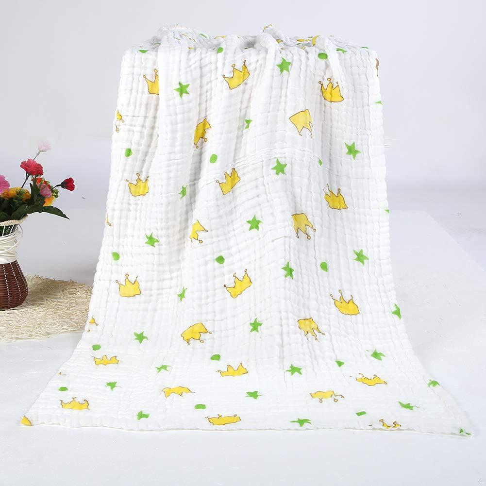 Wallfire Baby Bath Towel, 75x140cm 6 Layers Multifunctional Soft Cotton Quilt Blanket Breathable Crib Nursery Swaddle Blanket (Crown)