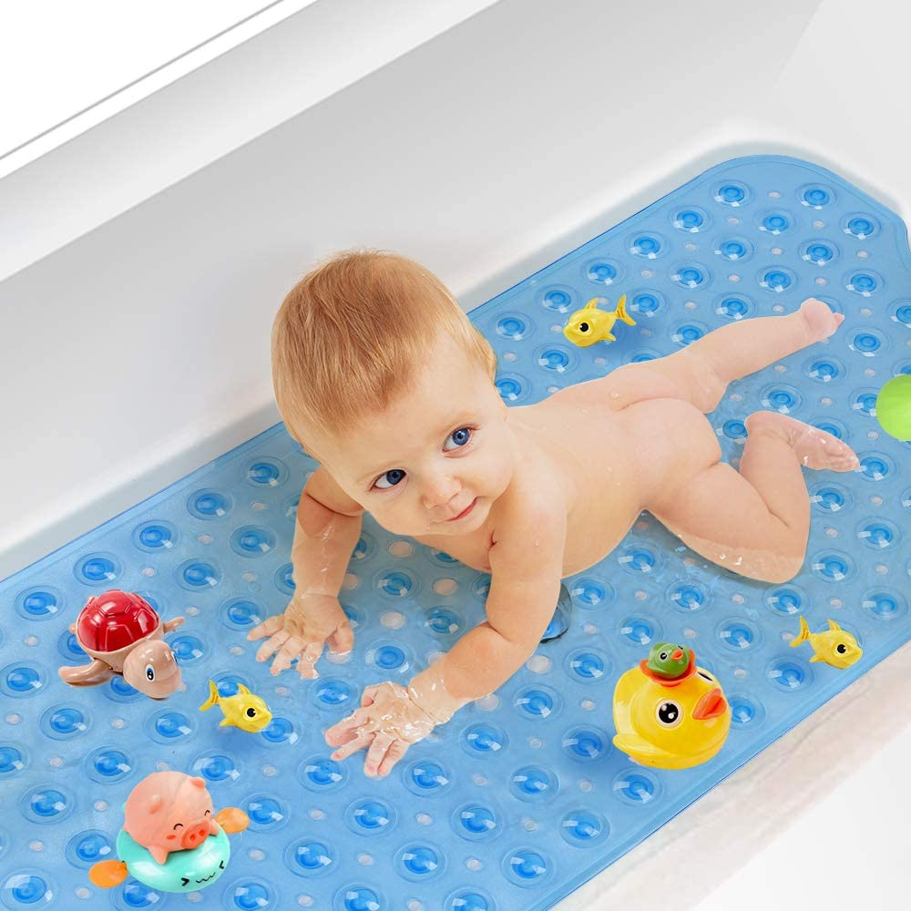 Yueetc Patented Bathtub Mat, Non Slip Bathtub Bat, Non Slip Shower Mat, for Infants and All Ages, 40x16 inch, Blue